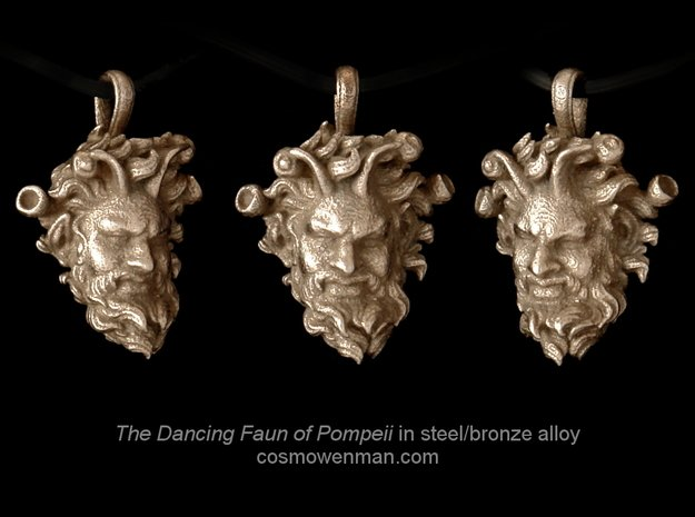 Steel Dancing Faun of Pompeii pendant in Polished Bronzed Silver Steel