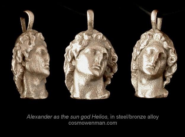 Steel Alexander as the sun god Helios, pendant in Polished Bronzed Silver Steel