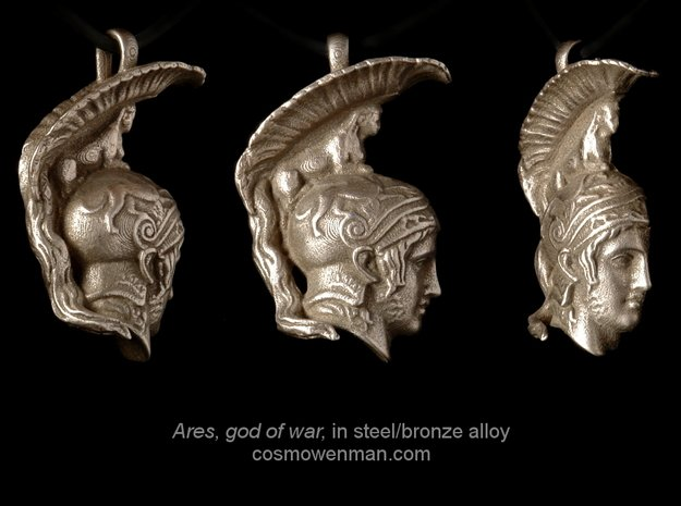 Steel Ares, god of war pendant (profile) in Polished Bronzed Silver Steel