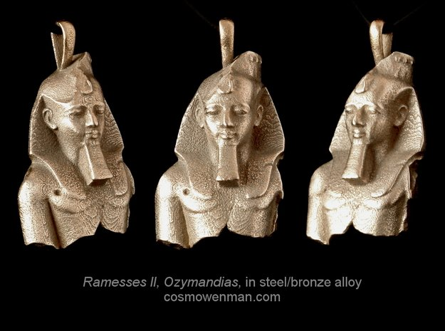 Steel Ramesses II, Ozymandias pendant in Polished Bronzed Silver Steel