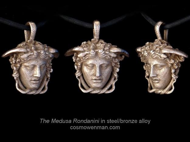 Steel Medusa Rondanini pendant in Polished Bronzed Silver Steel