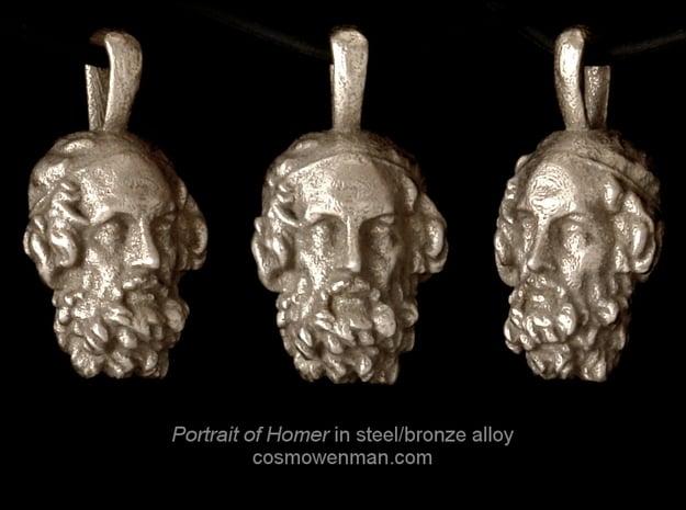Steel Portrait of the Blind Homer pendant in Polished Bronzed Silver Steel