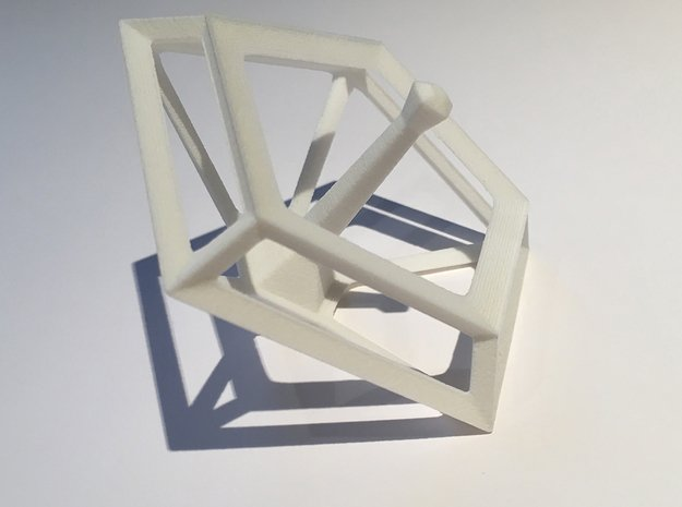 Geometric Spinning Top  in White Processed Versatile Plastic
