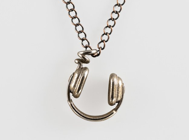 Headphone Necklace in Polished Bronzed Silver Steel