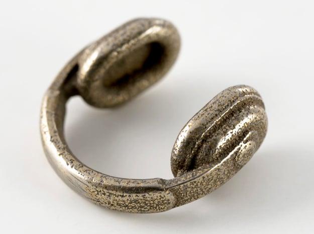 Headphones Cufflinks in Polished Bronzed Silver Steel