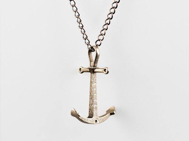Anchor Necklace - Authentic in Polished Bronzed Silver Steel