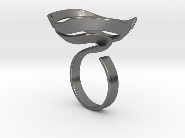 Swirl ring - size 7 in Polished Nickel Steel