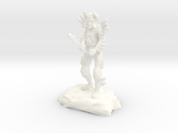 Saverok, the Bhaalspawn with Demon Armor and Sword in White Processed Versatile Plastic