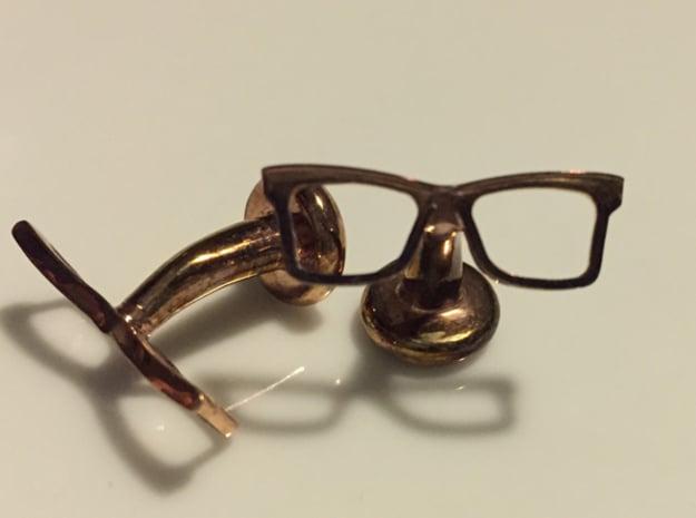 Hipster Glasses Cufflinks Origin in 14k Rose Gold Plated Brass