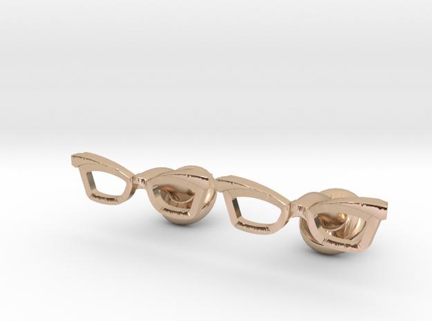 Hipster Glasses Cufflinks Female in 14k Rose Gold Plated Brass