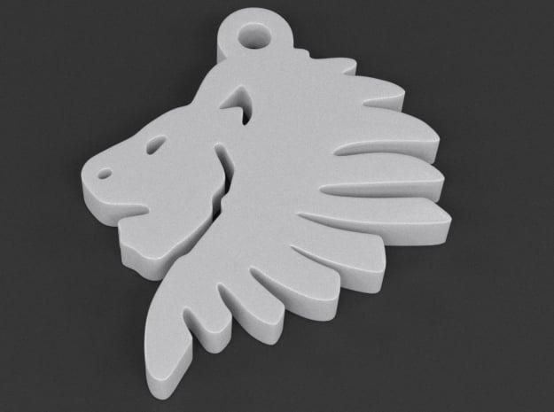 Lionhead Pendant in White Processed Versatile Plastic