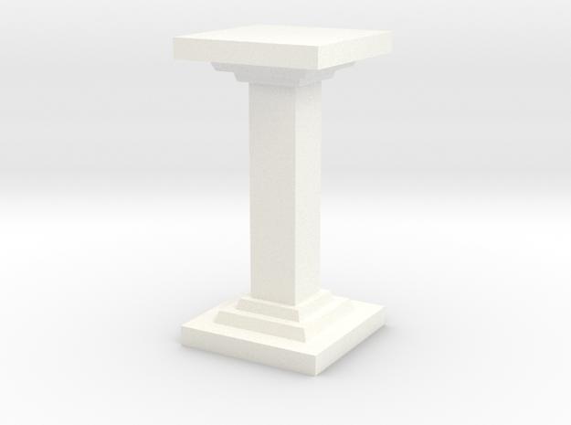 Square Pillar in White Processed Versatile Plastic