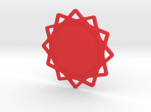 Custom Mandala Pendant 6 in Red Processed Versatile Plastic