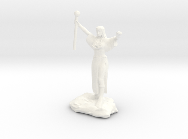 Ceptienne, human mage with staff casting a spell in White Processed Versatile Plastic