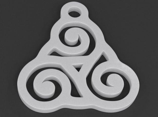 Triskelion Pendant 03 in White Processed Versatile Plastic