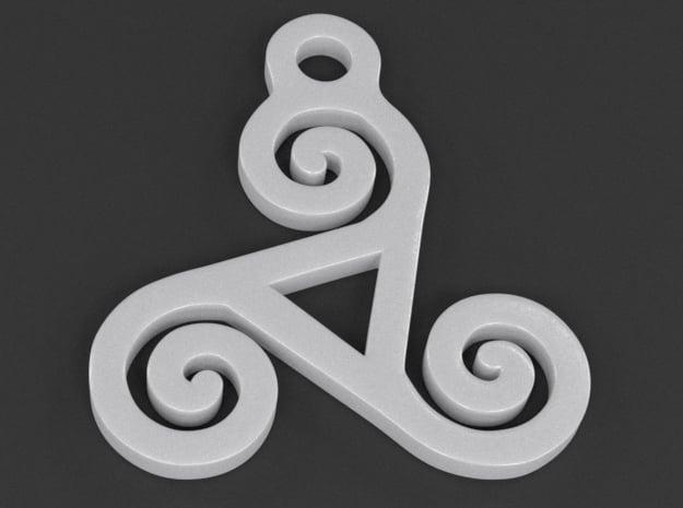 Triskelion Pendant 04 in White Processed Versatile Plastic