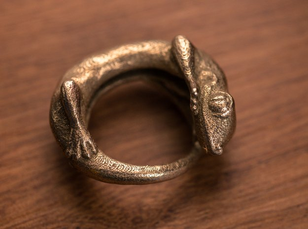 (Size 10) Gecko Ring in Polished Bronzed Silver Steel