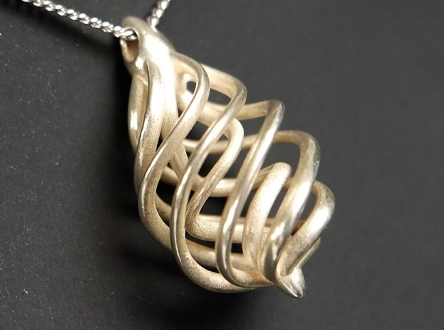 DNA Teardrop Pendant in Polished Silver