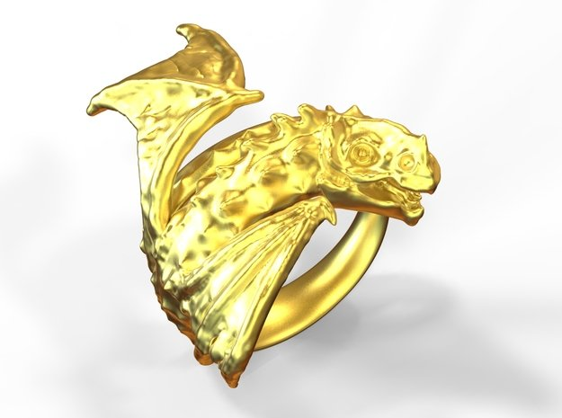 Mâche-croute, Rhône's dragon in Polished Gold Steel: 10 / 61.5