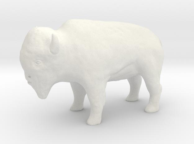 Miniature Bison in White Natural Versatile Plastic