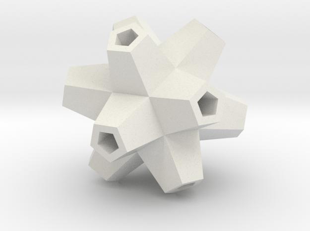 Urchin Polyhedron Pendant in White Natural Versatile Plastic