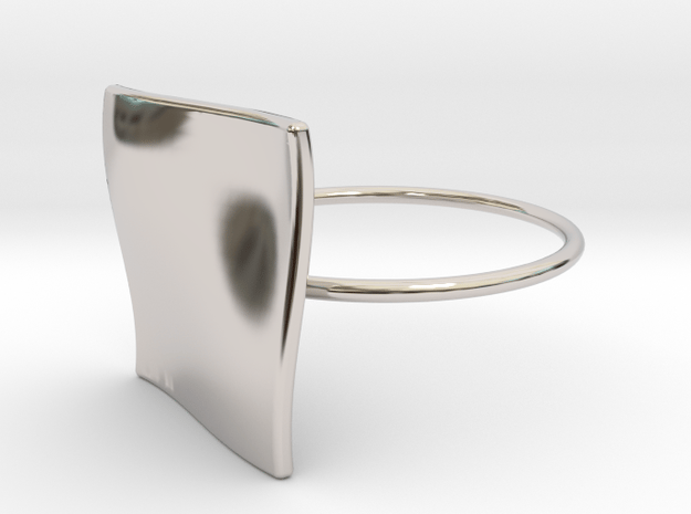 OCEAN Ring Thin Circle in Rhodium Plated Brass
