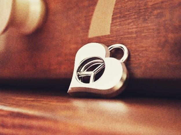 Hippie Heart in Polished Bronzed Silver Steel