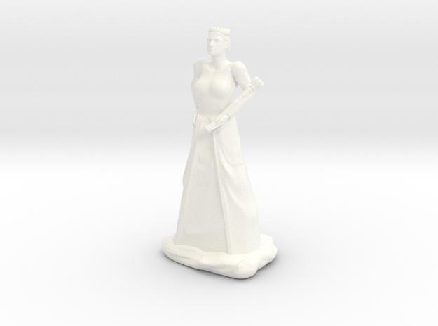Queen with Sceptre in White Processed Versatile Plastic