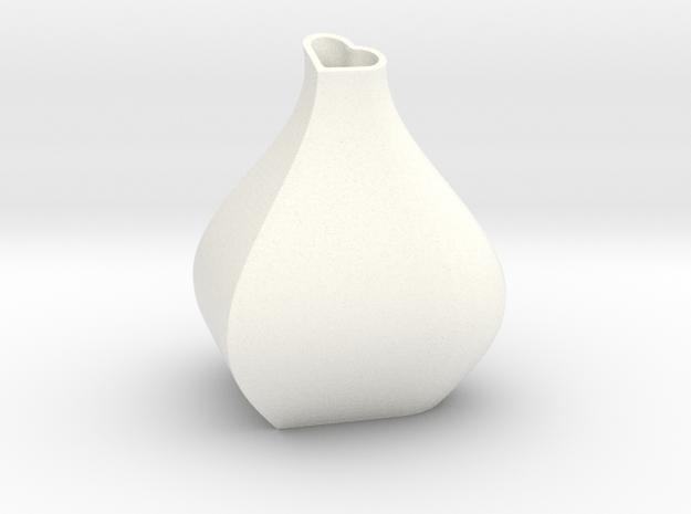 Heart + Sine Wave = Vase in White Processed Versatile Plastic