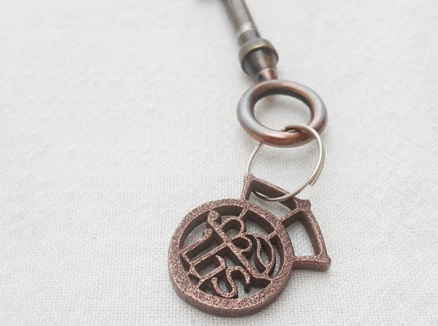 Key ring - ihs - small  in Polished Bronze Steel