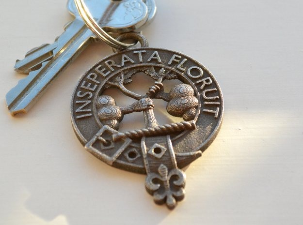 Watson Clan Crest key fob in Polished Bronze Steel