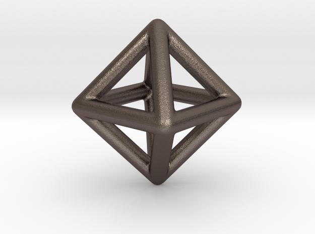 Minimal Octahedron Frame Pendant in Polished Bronzed Silver Steel