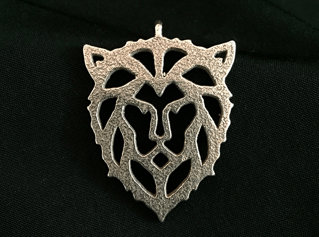 Lion Pendant in Polished Bronzed Silver Steel