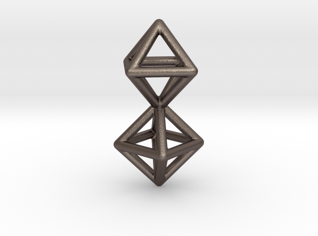 Twin Octahedron Frame Pendant Small in Polished Bronzed Silver Steel