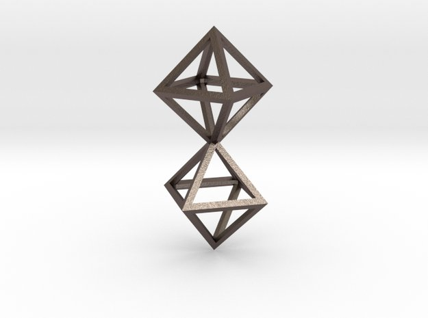 Faceted Twin Octahedron Frame Pendant in Polished Bronzed Silver Steel