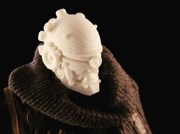 """Plug Head"" custom 1:6th scale head in White Natural Versatile Plastic"