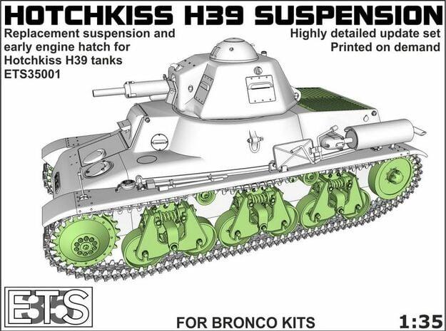 ETS35001 Hotchkiss H39 running gear + engine hatch in Smooth Fine Detail Plastic