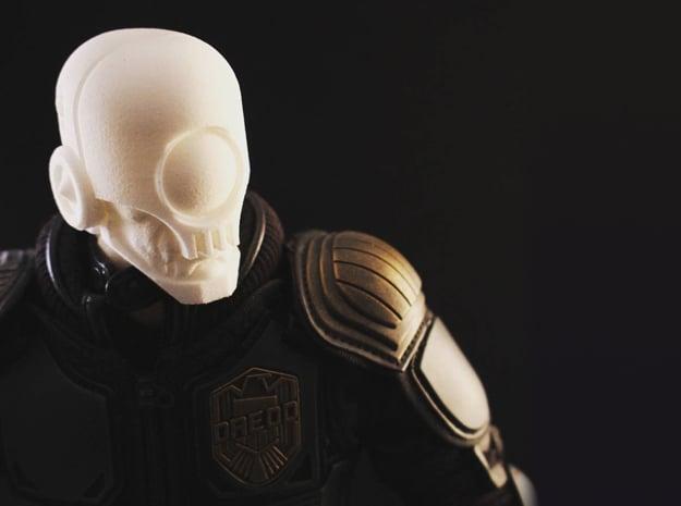 """Skullgrin v2"" custom 1:6th scale head in White Natural Versatile Plastic"