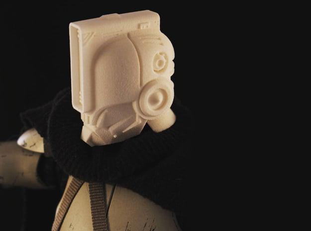 """Norman"" custom 1:6th scale head in White Natural Versatile Plastic"