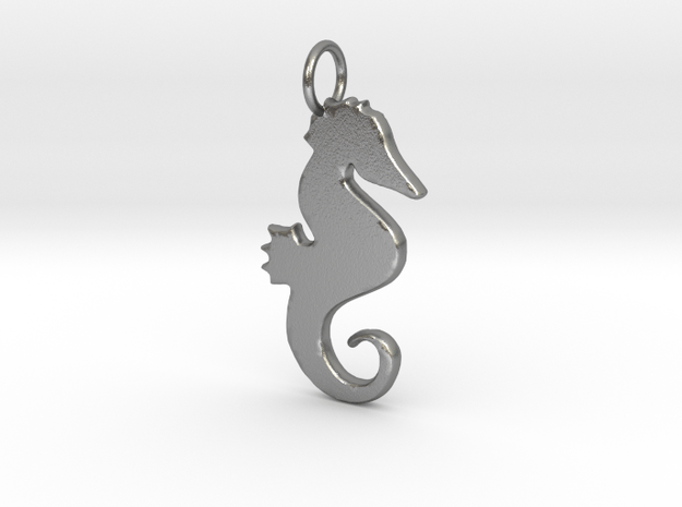 Seahorse pendant in Natural Silver