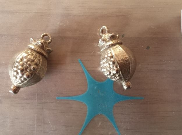 Pomegranate Earring in Polished Bronzed Silver Steel