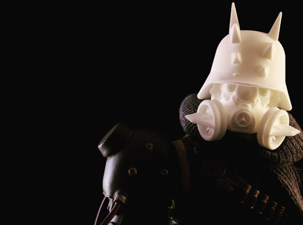"""Steg Helm"" custom 1:6th scale head in White Natural Versatile Plastic"