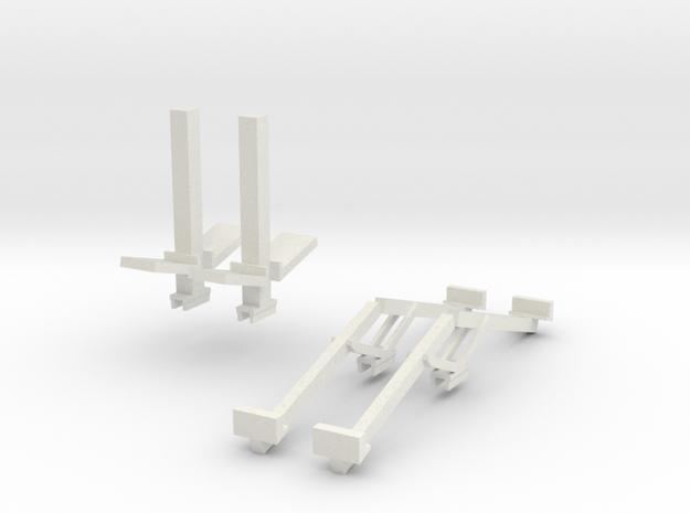 1/64 Double Header Trailer- Header Stands in White Natural Versatile Plastic
