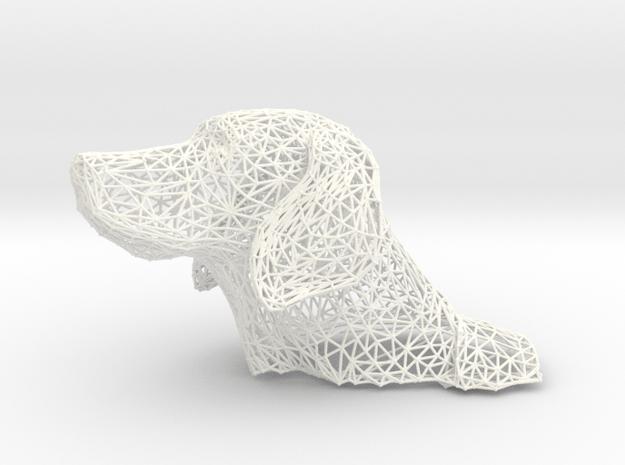 Wireframe Dog head Weimaraner in White Processed Versatile Plastic