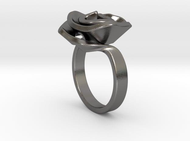 Rose ring in Polished Nickel Steel