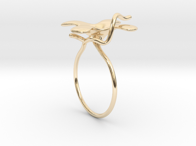 Flower ring - 16mm in 14K Yellow Gold