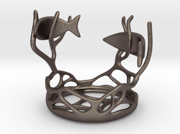 Two Fishes Candlestick in Polished Bronzed Silver Steel