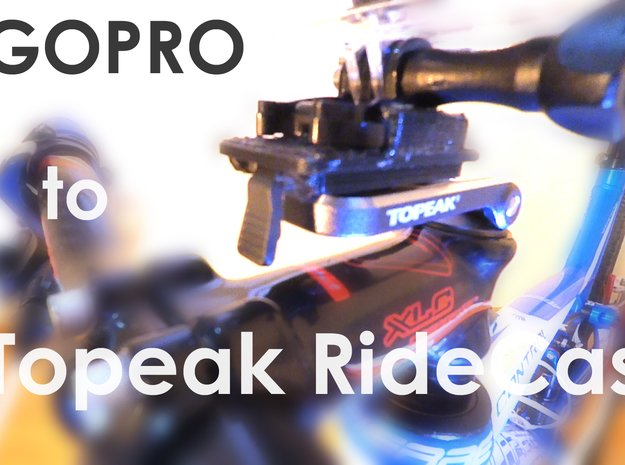 Adapter from Topeak Ridecase to Gopro Mount in White Processed Versatile Plastic