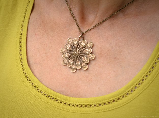 Sun Petals Pendant in Polished Bronzed Silver Steel