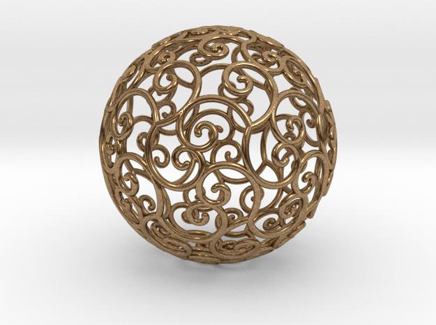 Triskel celtic sphere 3b ( 2,8+4 - 4 cm ) in Natural Brass